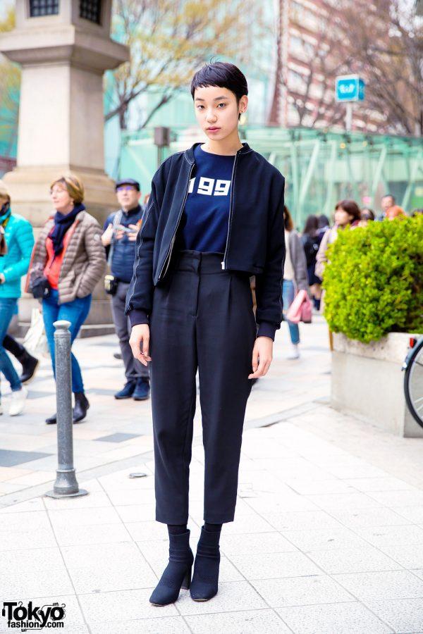 Japanese Fashion Model Tsukina in Minimalist Style w/ Cropped Jacket, High-Waist Pants & Booties