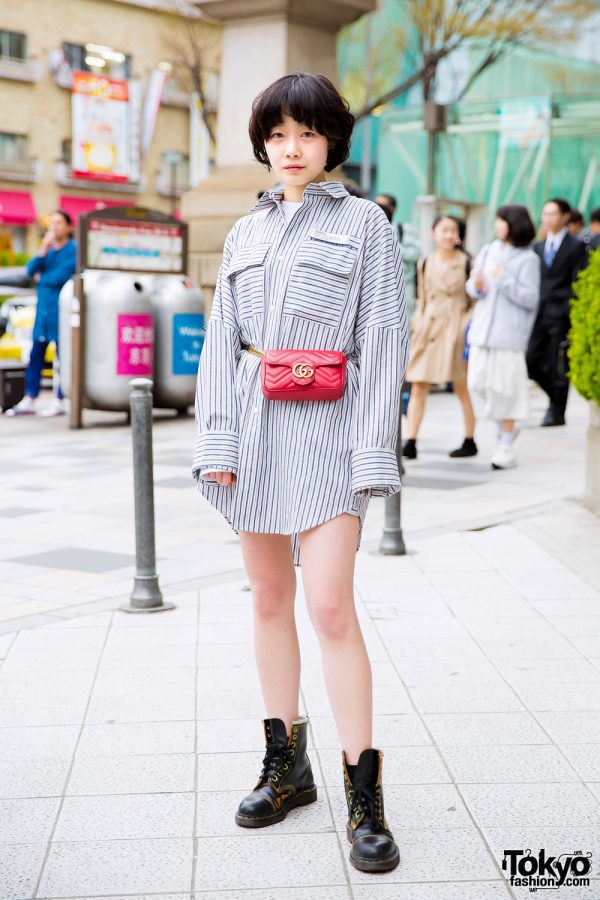 Minimalist Harajuku Street Style w/ Dairiku Shirt Dress, Dr. Martens Boots & Red Gucci Bag