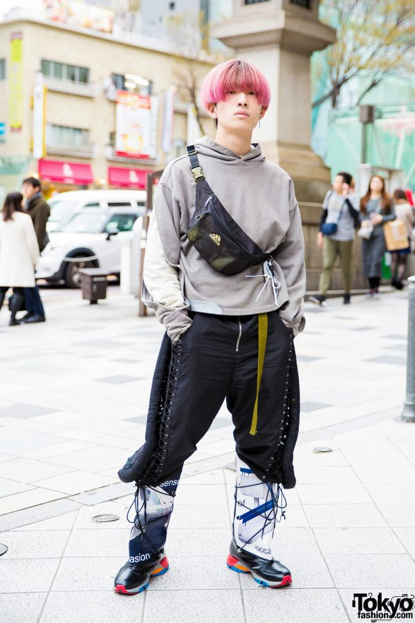 Pink-Haired Guy in Eclectic Streetwear w/ A-Cold-Wall, Hood By Air, Adidas & Xander Zhou Statement Boots