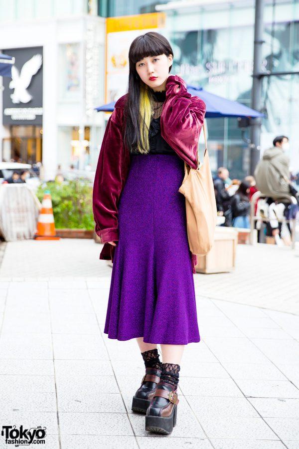 Harajuku Street Style w/ 0.14 Velvet Jacket, Romantic Standard Skirt & Yosuke Platform Shoes