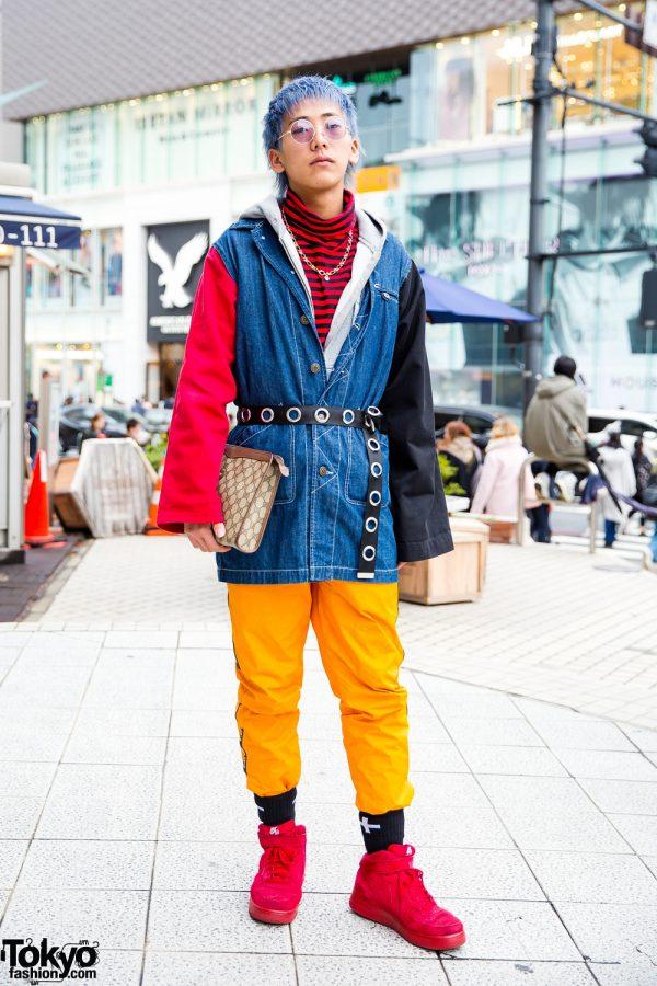 Colorblock Harajuku Street Style w/ Handmade Jacket, MRC Noir Pants, Nike Air Force One Sneakers & Gucci Clutch