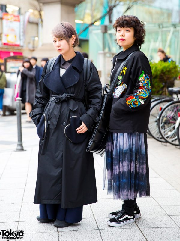 Japanese Dark Streetwear in Harajuku w/ Tsumori Chisato Trench Coat, Ahcahcum Backpack, Kidill Patch Jacket & Black Comme des Garcons Geometric Tote