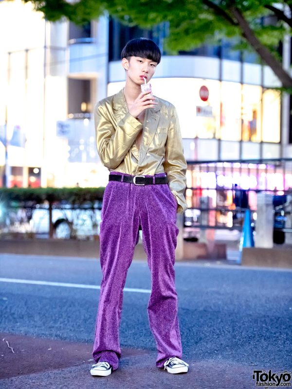 Japanese Streetwear Style w/ Gold Comme Des Garcons Jacket, Sequin Pants & Converse Sneakers
