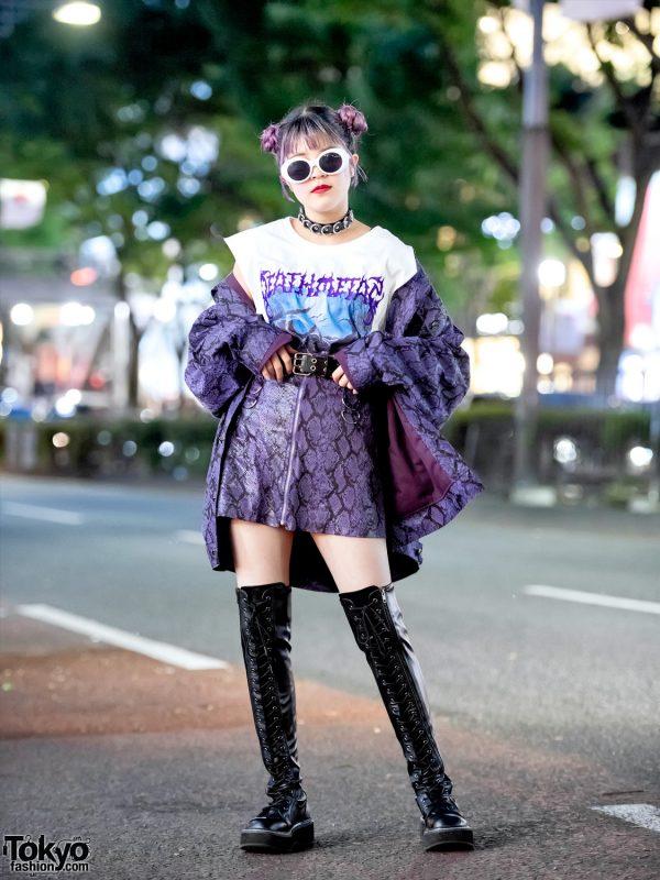 Harajuku Girl in DYOG Purple Snakeskin Jacket & Miniskirt, Faith Tokyo & Demonia