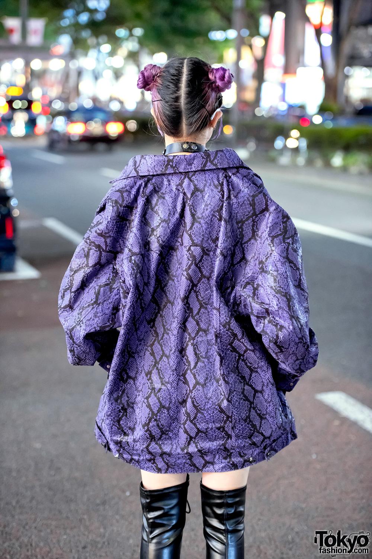 Harajuku Girl In Dyog Purple Snakeskin Jacket Amp Miniskirt