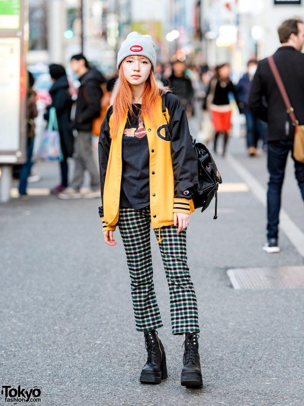 Harajuku Girl in X-Girl Jacket, Harley Davidson Tee, UNIF, Supreme & Cecil McBee