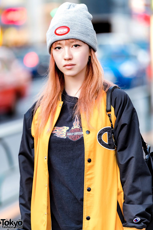 Harajuku Girl In X Girl Jacket Harley Davidson Tee Unif