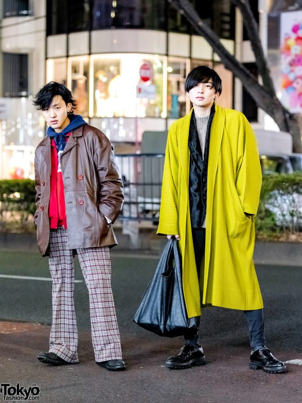 Tokyo Menswear Street Styles w/ The Four-Eyed Leather Jacket, Tunagi Japan Plaid Pants, Issey Miyake Homme Plisse Pleated Coat & Prada Shoes