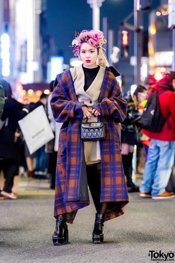 Japanese Beautician in Harajuku w/ Statement Headpiece, Haushca Plaid Maxi Coat, Emoda Booties & Quilted Handbag