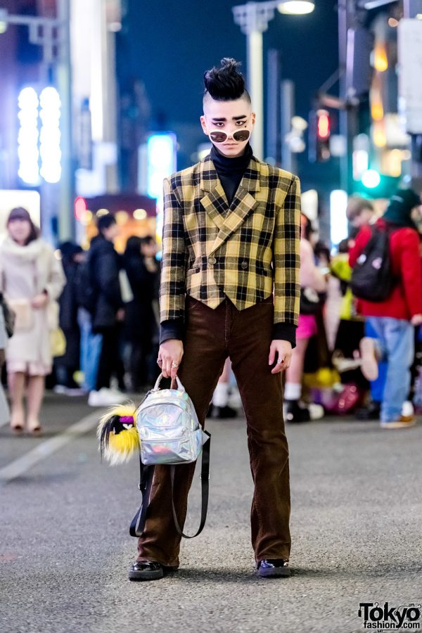 Tokyo Vintage Street Style w/ Yellow Plaid Jacket, Brown Pants, Heeled Boots & WEGO Iridescent Backpack