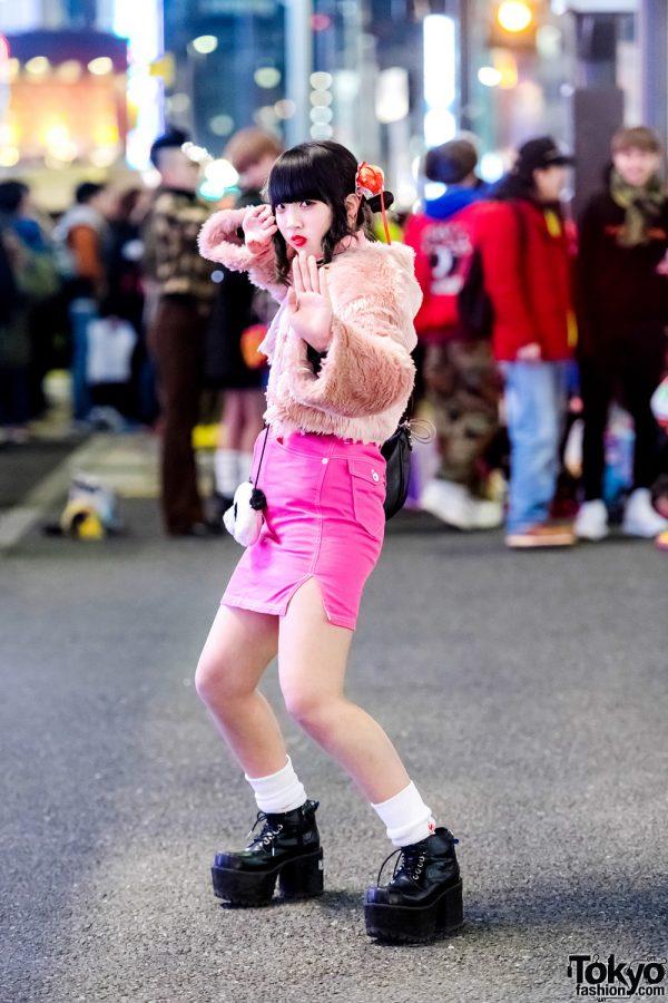 Harajuku Girl in Twin Buns & Pink Fashion w/ San To Nibun No Ichi, WEGO & Yosuke