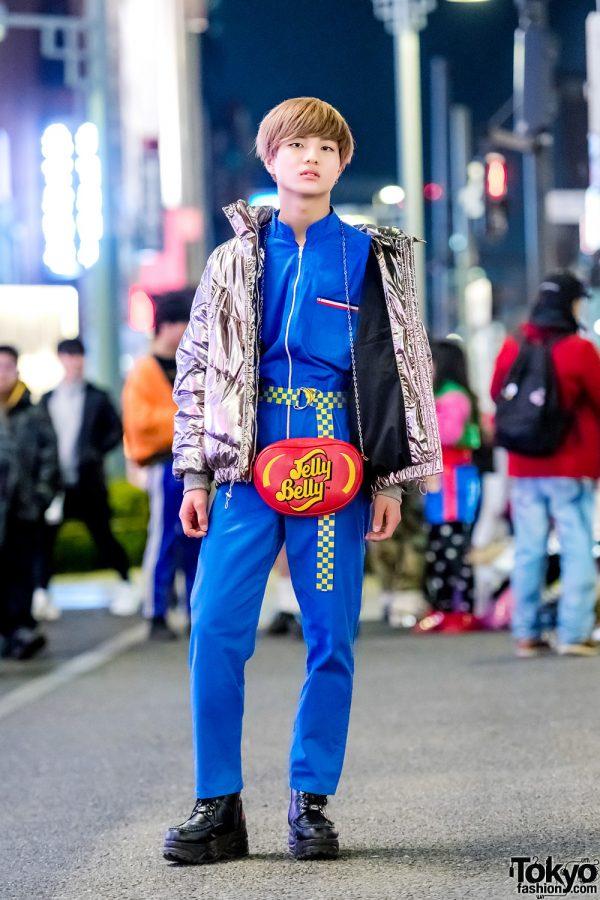 Harajuku Street Style w/ Ding Jelly Belly Bag, H&M Metallic Jacket, Kinji Overalls & Yosuke Platform Boots
