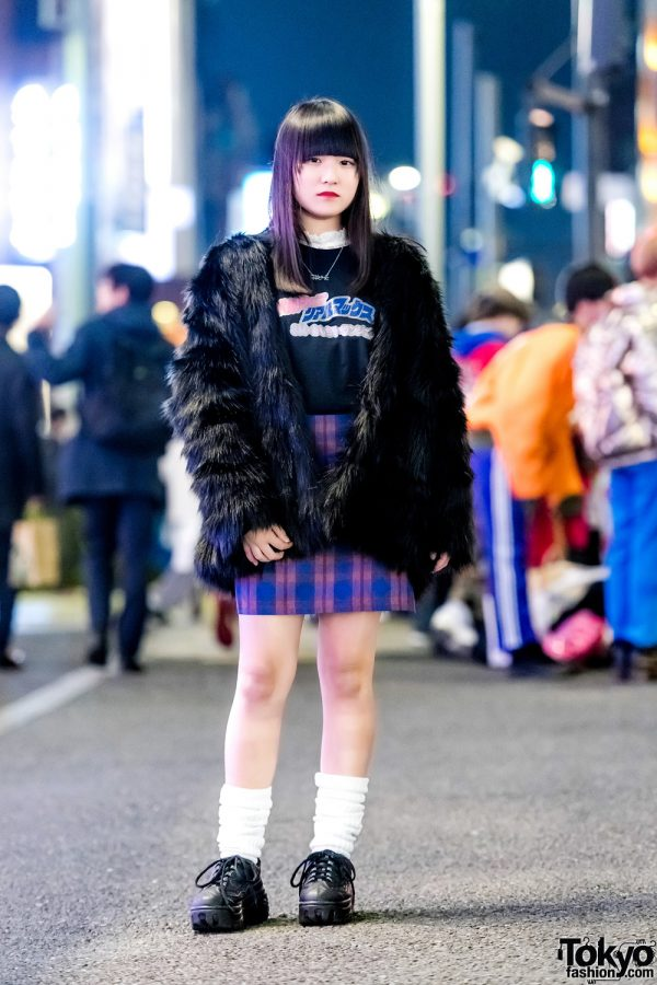 Harajuku Girl in H&M Faux Fur Jacket, 7% More Pink Plaid Skirt & Oh Pearl Necklace