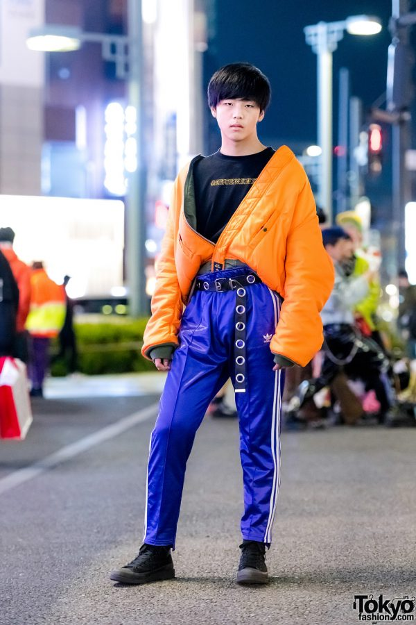 Harajuku Teen in Orange Alpha Jacket, WEGO Top, Adidas Track Pants & Converse Sneakers