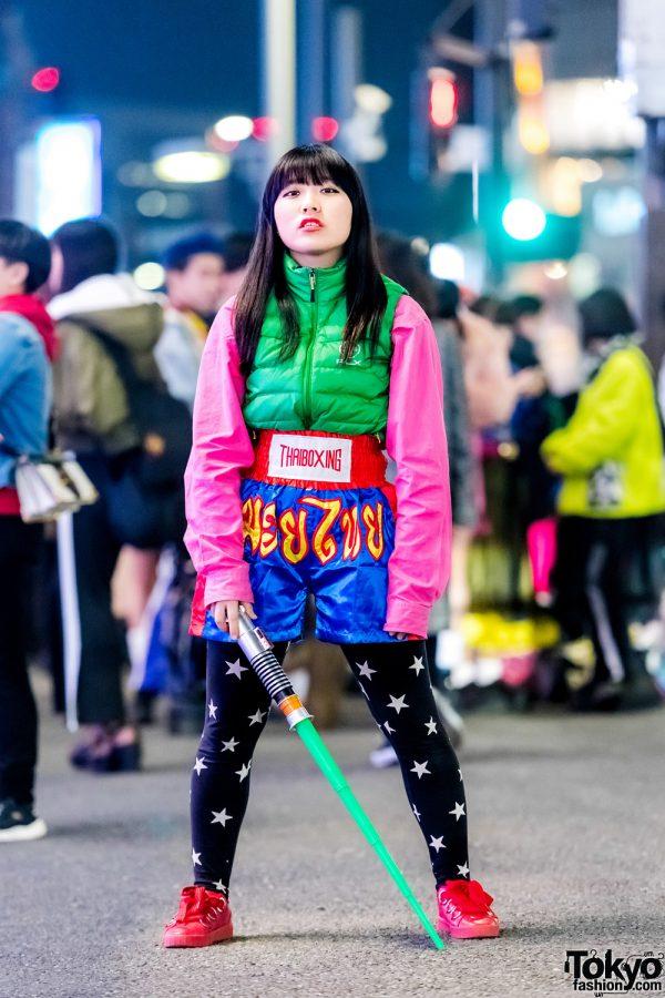 Harajuku Colorful Streetwear Style w/ Lightsaber, Ralph Lauren Jacket, Muay Thai Shorts & Stradivarius Shoes