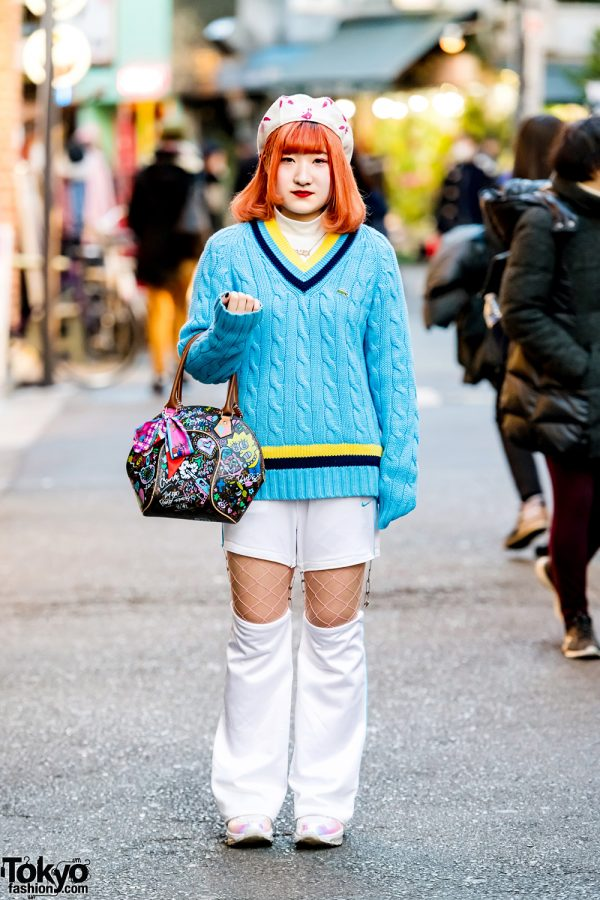 Harajuku Street Style w/ Lacoste Sweater, Nike Cut Out Pants & LV x Simpsons Handbag