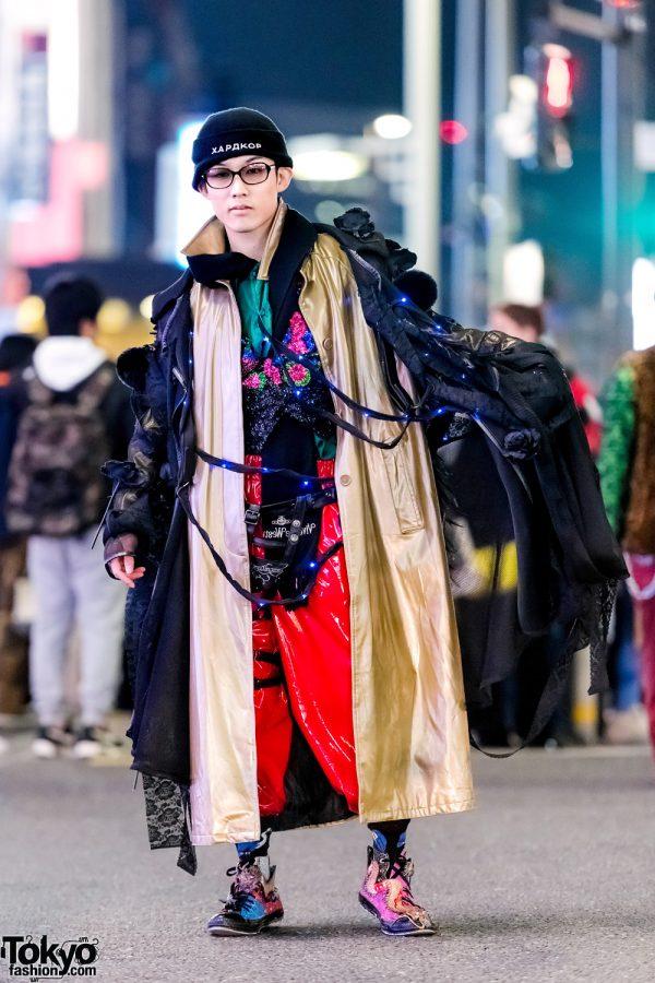 Handmade Harajuku Street Style w/ Blue Lights, Prega Coat, Pinnap Sequin Top, Asos Patent Pants & Dog Harajuku Dragon Sneakers