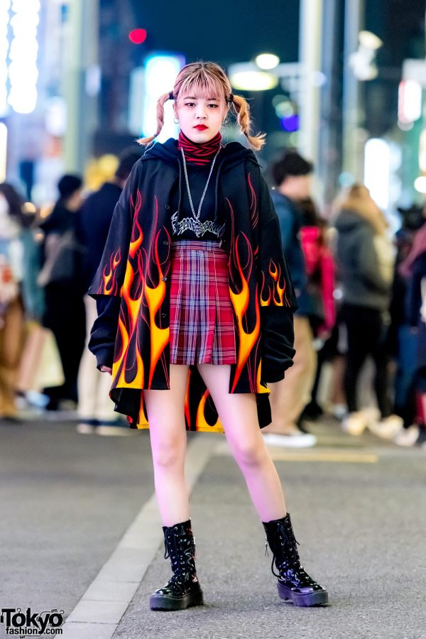 Harajuku Girl in Flame Print Jacket, WEGO Plaid Skirt, Kinji Bag & 7% More Pink Boots