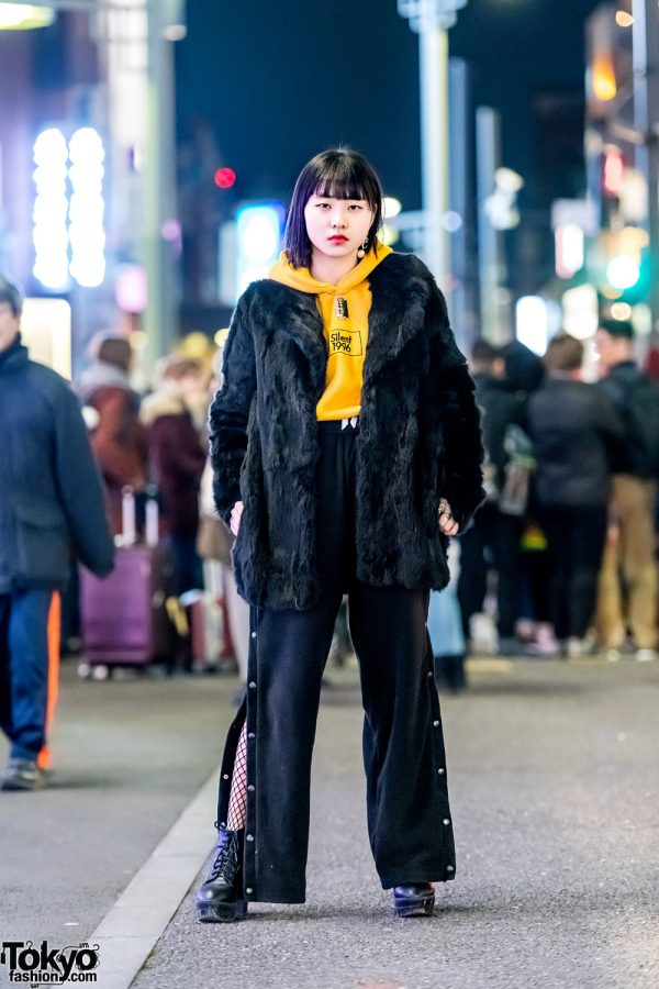 Streetwear Style in Tokyo w/ Faux Fur Coat, WEGO Hoodie Sweater, Faith Tokyo Side Snap Pants & Lace-Up Booties