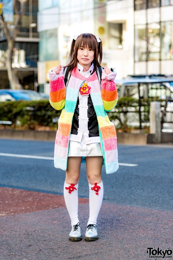 Twin Tails & Rainbow Jacket Harajuku Street Style w/ Galaxxxy, Funky Fruit, Earthmagic & Dr. Martens