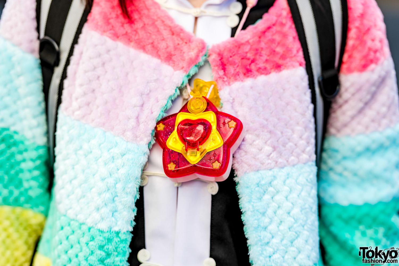 Twin Tails & Rainbow Jacket Harajuku Street Style W