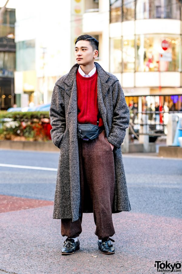 Retro Japanese Menswear Street Style in Harajuku w Wool Coat