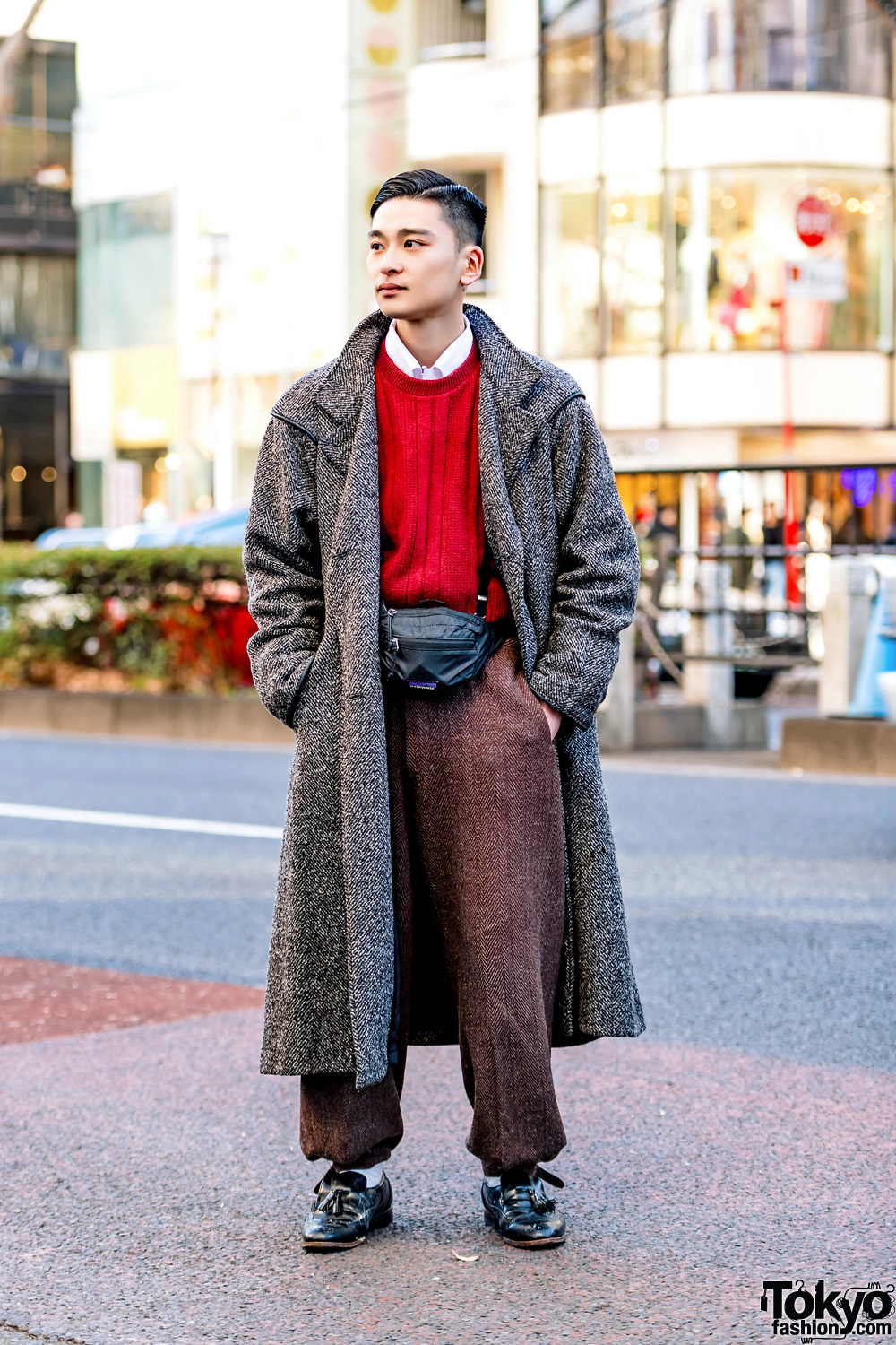 Retro Japanese Menswear Street Style In Harajuku W Wool Coat