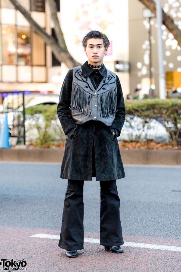Vintage All-Black Harajuku Streetwear Style w/ Leather Fringe Vest, Flared Pants & Heeled Boots