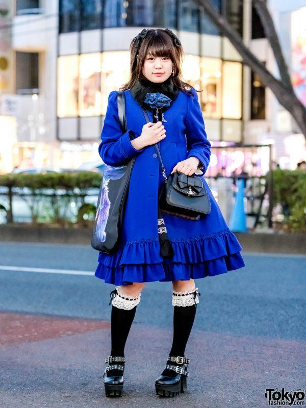 Blue Coat Harajuku Street Style w/ Moi-meme-Moitie, Vivienne Westwood, Milkboy, Yosuke & Angelic Pretty