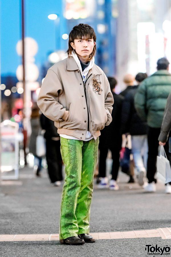 Casual Vintage Street Style w/ Two-Tone Hair, Tiger Jacket, Snakeskin Pants & Ozone Community Rings