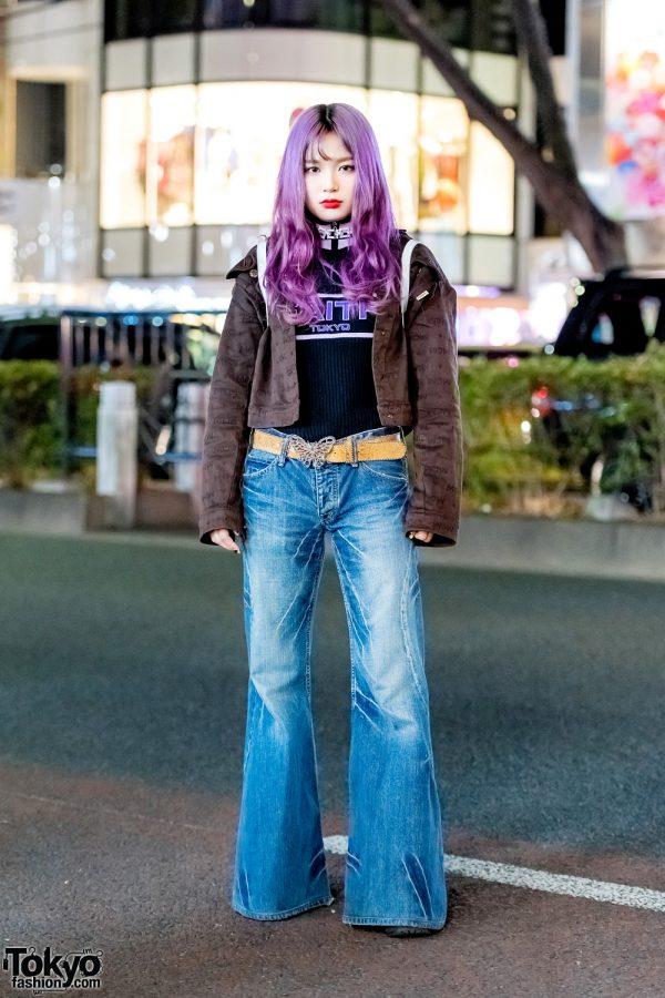 Bell Bottom Jeans, Butterfly Belt Buckle & Purple Hair On The Street in Harajuku