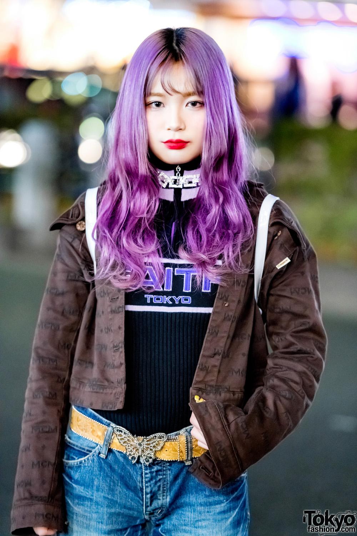 Bell Bottom Jeans Butterfly Belt Buckle Amp Purple Hair On