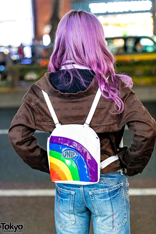 bell bottom jeans  butterfly belt buckle  u0026 purple hair on the street in harajuku