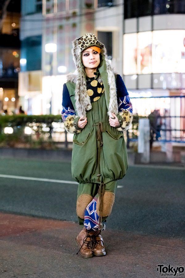 Japanese DJ in Mixed Prints & Faux Fur Harajuku Streetwear Style w/ MalkoMalka, Milkboy & Dr. Martens