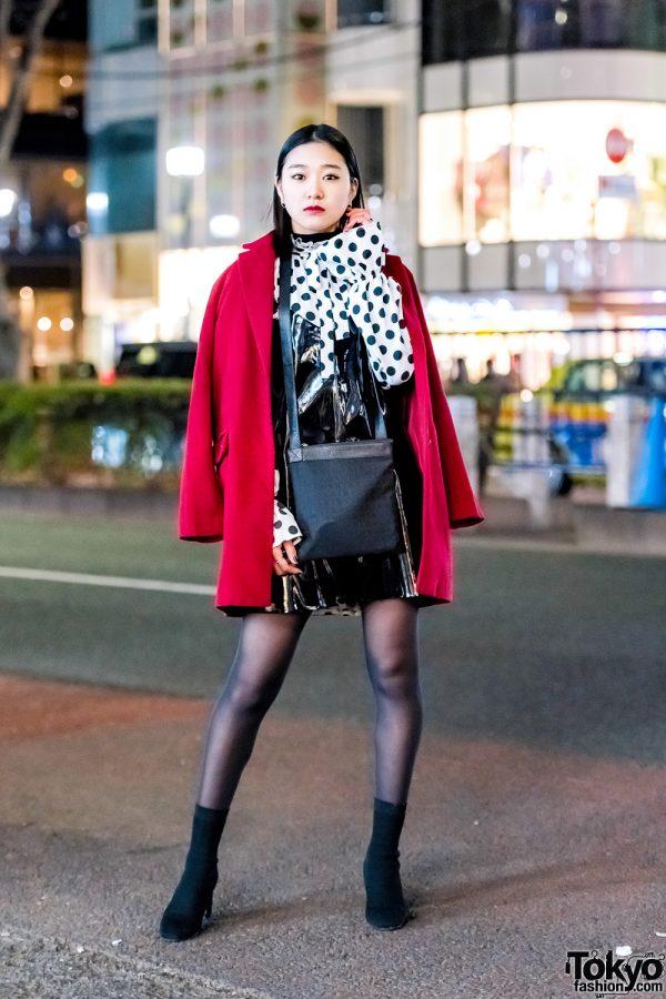 Harajuku Model & Actress in Red Coat, Polka Dots, Patent Leather Dress, Suede Heels & Bvlgari Bag