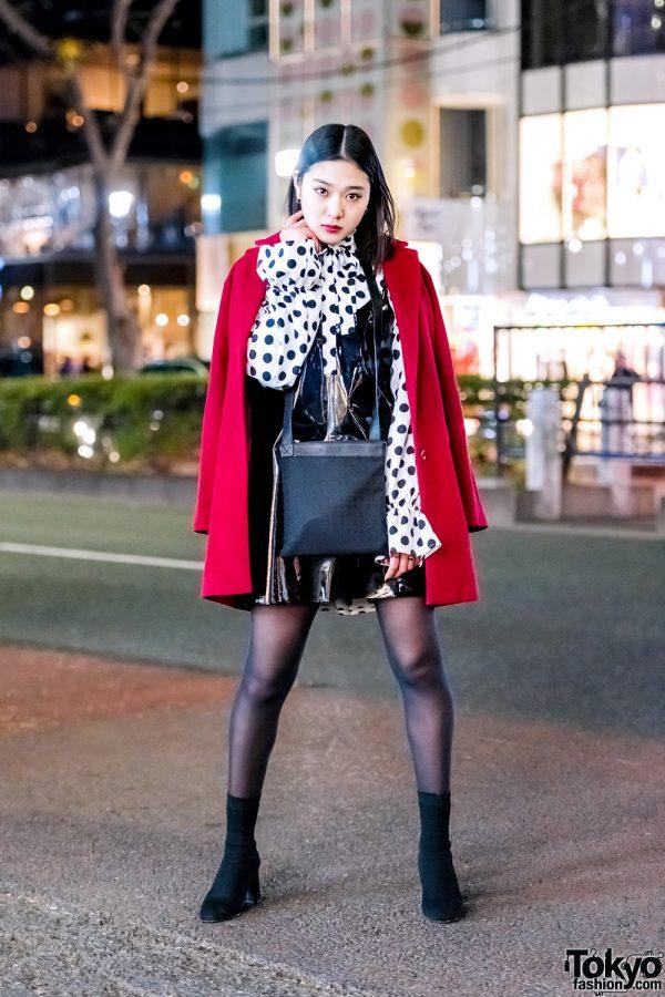 Harajuku Model Amp Actress In Red Coat Polka Dots Patent