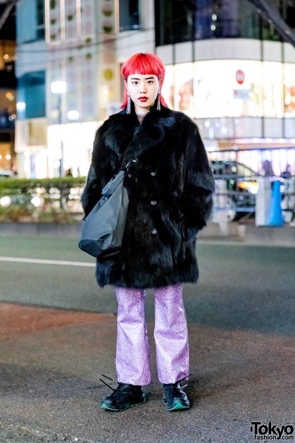 Red-Haired Harajuku Girl in Vintage Street Style w/ Faux Fur Jacket, Purple Snakeskin Pants, Alyx Bag & Eytys Sneakers