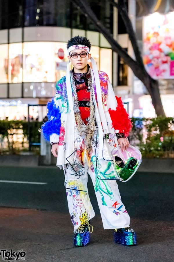 Tokyo Remake & Vintage Street Style w/ Romantic Standard Alien Clutch, YRU Tall Sequin Boots & Garb Statement Necklace