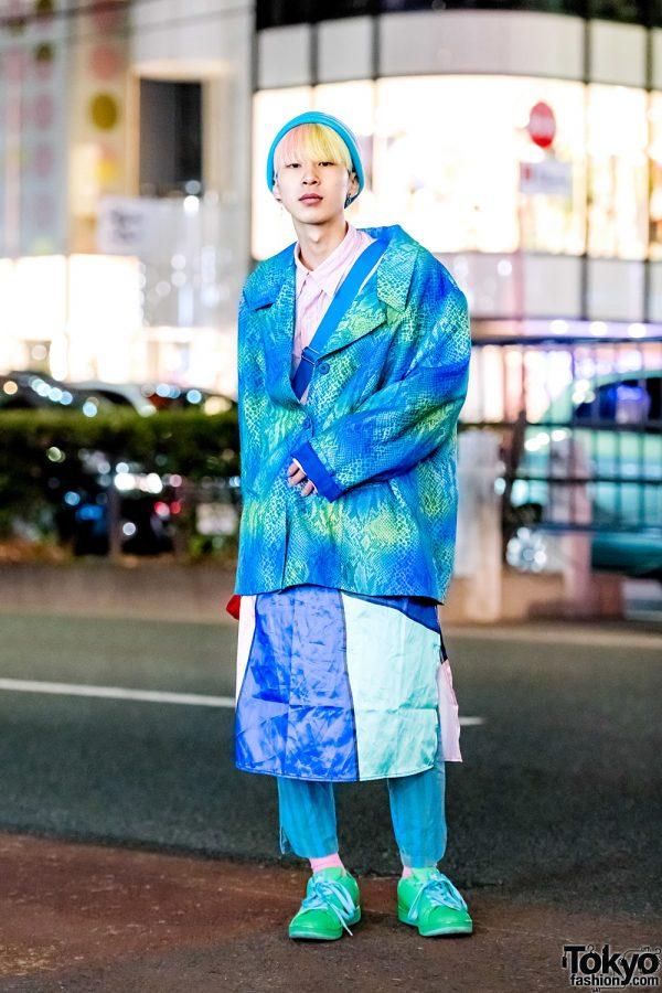Blue & Green Tokyo Vintage Streetwear Style w/ Snakeskin Jacket, Striped Pants, Tommy Hilfiger Bag & Ice Cream Sneakers