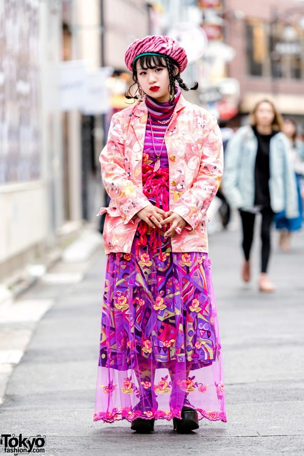 Fanatic Tokyo Editor in Pink Mixed-Prints Street Style w/ Anna Sui, Kinji, Tokyo Bopper, Tricot Comme des Garcons, Cayhane & Jubilee