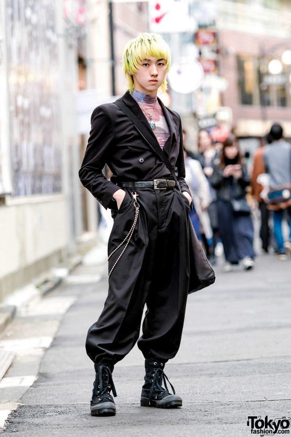 Dark Streetwear Style in Harajuku w/ TTT_MSW, No Dress, Fethers Goffa X, Dries Van Noten & Comme des Garcons
