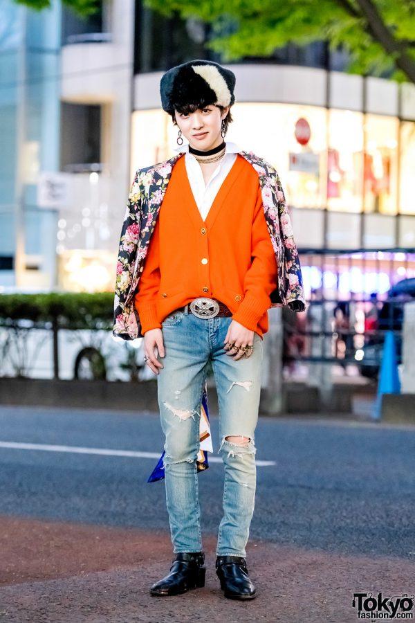 Japanese Street Style w/ Vintage Floral Blazer, Saint Laurent Paris, Maison Margiela & Chanel
