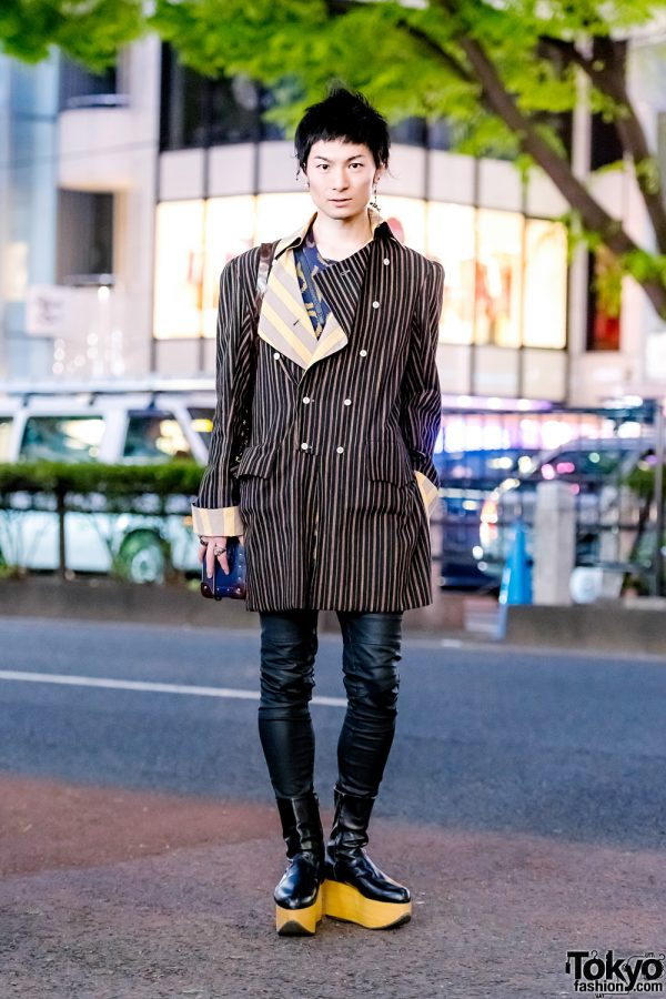 Harajuku Designer Streetwear Style w/ Double-Breasted Coat, Skinny Leather Pants, Leather Box Bag & Cutout Platforms