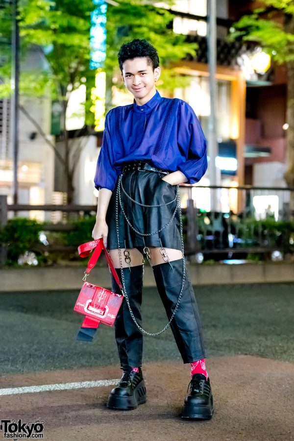 Harajuku Teen's Street Style w/ King Family Pleated Top, Remake Kinji Cutout Pants, Demonia Platforms & Mememi Sling Bag