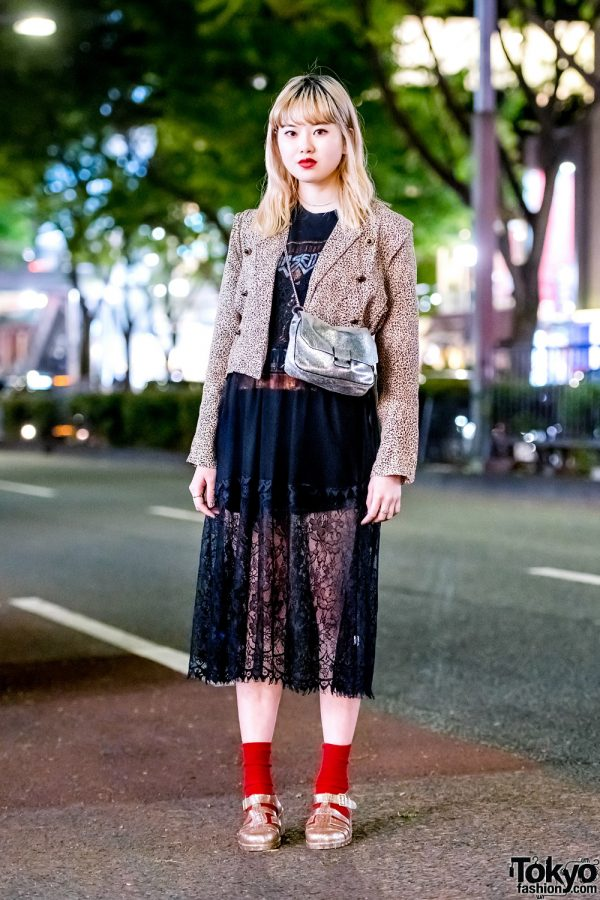 Harajuku Street Style w/ Birthdeath Blazer, Sheer Skirt, Crossbody Bag & Glitter Jelly Shoes