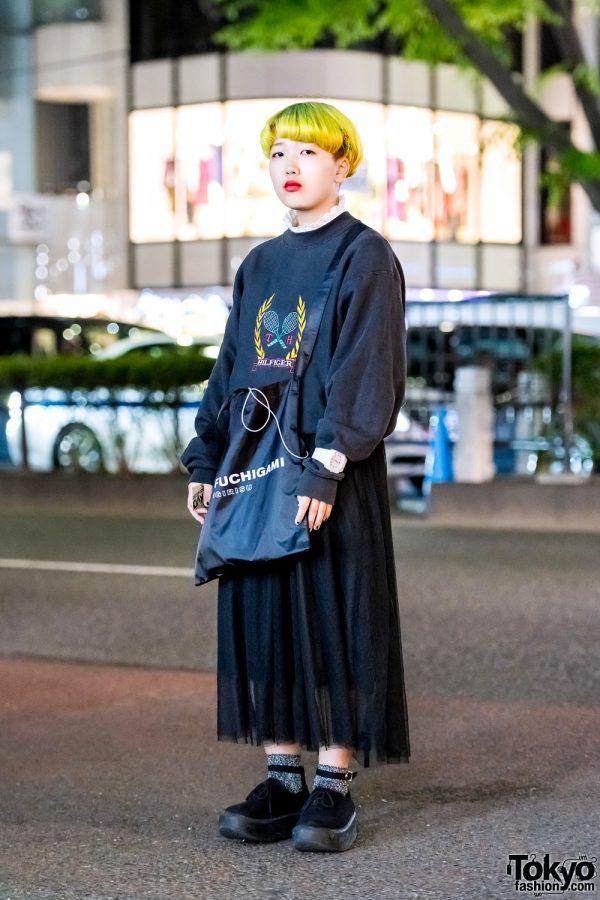 Japanese Street Style w/ Neon Green Bob, Merlot Midi Skirt, Tokyo Bopper Shoes & Yoko Fuchigami Tote