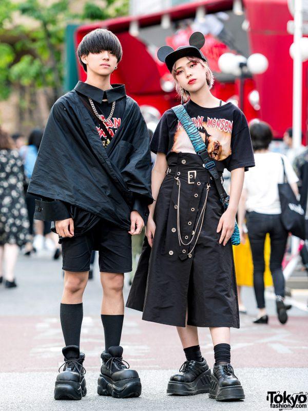 Harajuku Cat Street Styles w/ Iron Maiden & Marilyn Manson Band Shirts, M.Y.O.B., LHP, Gucci, Kenzo & Demonia Platforms