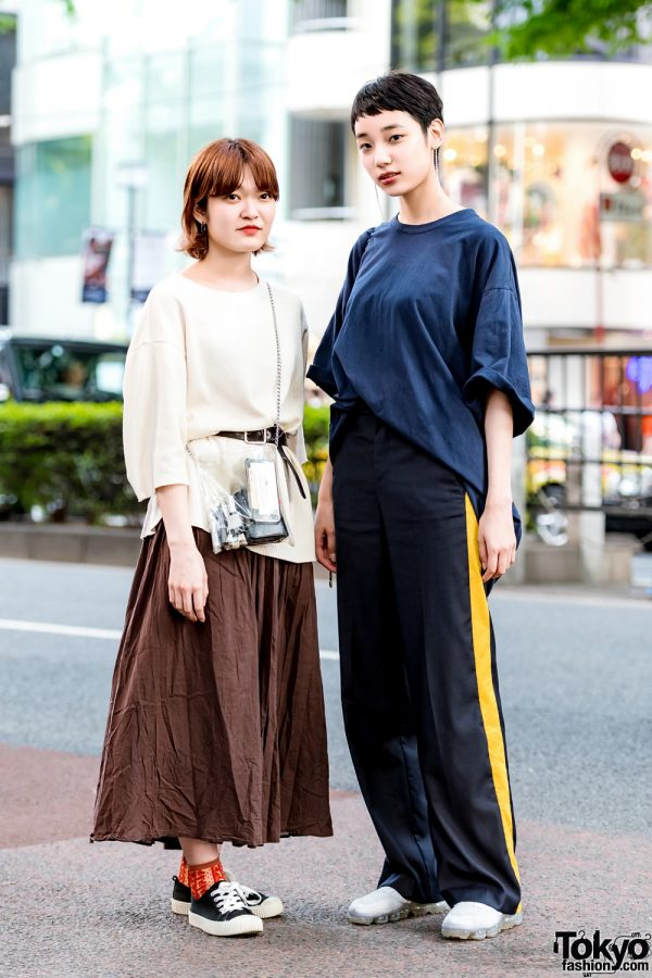 Japanese Girls in Minimalist Street Styles w/ Universal Overall T-Shirt, 3/4 Sleeve Top, Suede Sneakers & Sling Bags