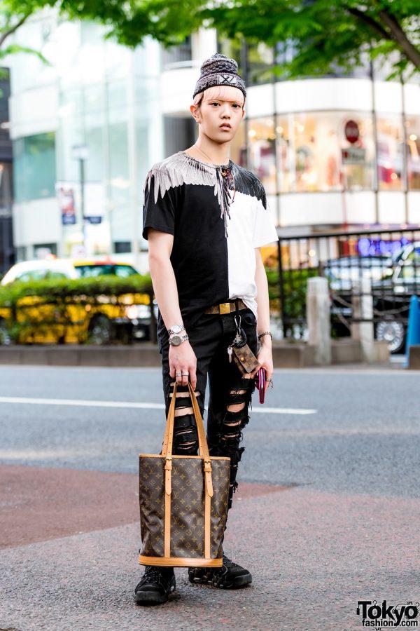 Japanese Monochrome Street Style w/ Marcelo Burlon, Legenda, Louis Vuitton, Nike & Christian Dior