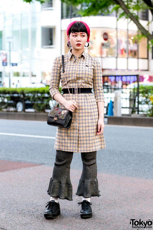 Retro Street Fashion in Harajuku w/ Burberry Tunic Dress, Kaka Vaka Ruffle Pants & Bershka Sling Bag